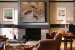 fossil stone mural over fireplace 3