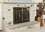 fossil stone tile fireplace 2