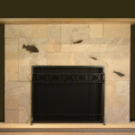 fossil stone tile fireplace