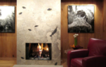 fossil slab stone fireplace 8
